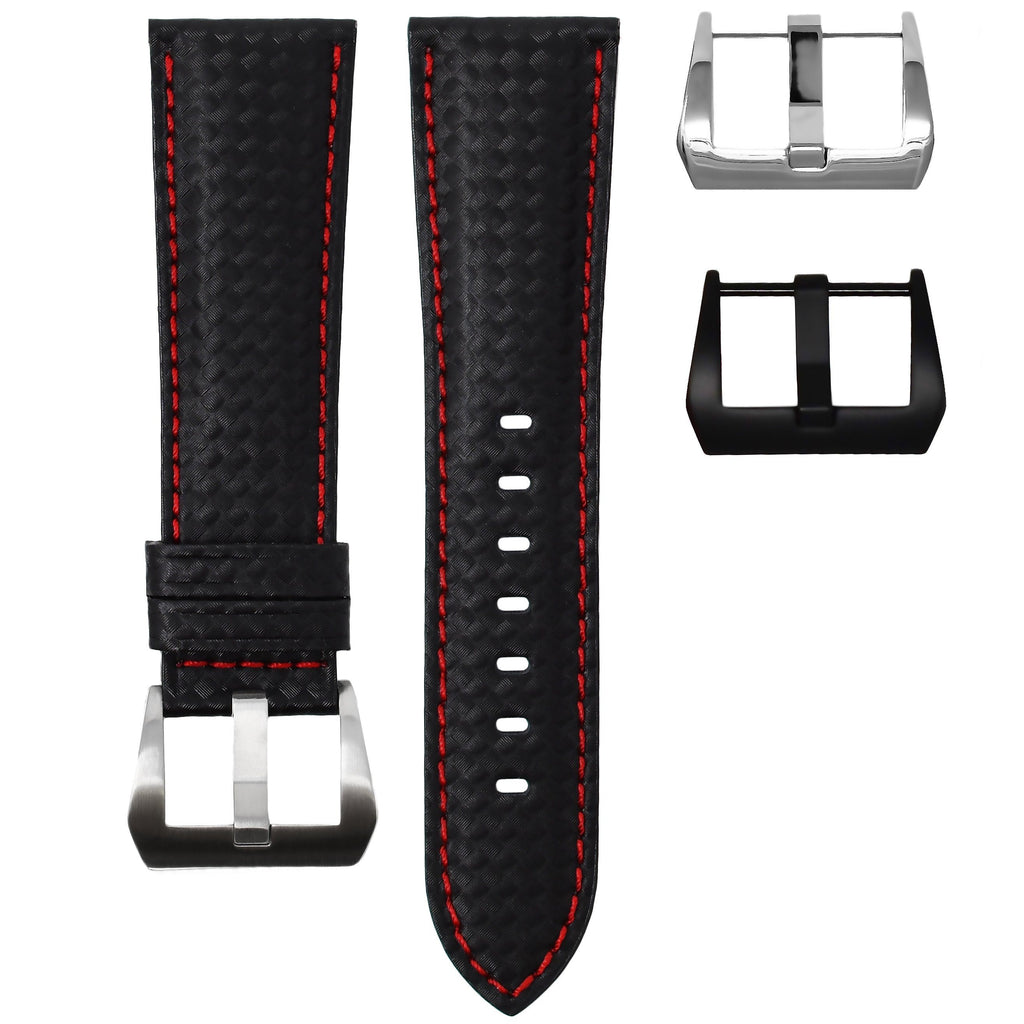 CARBON FIBER / RED STITCHING TAG HEUER MONACO STRAP