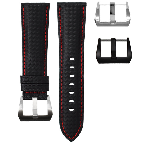 CARBON FIBER / RED STITCHING OMEGA PLANET OCEAN 600M 45.5MM STRAP