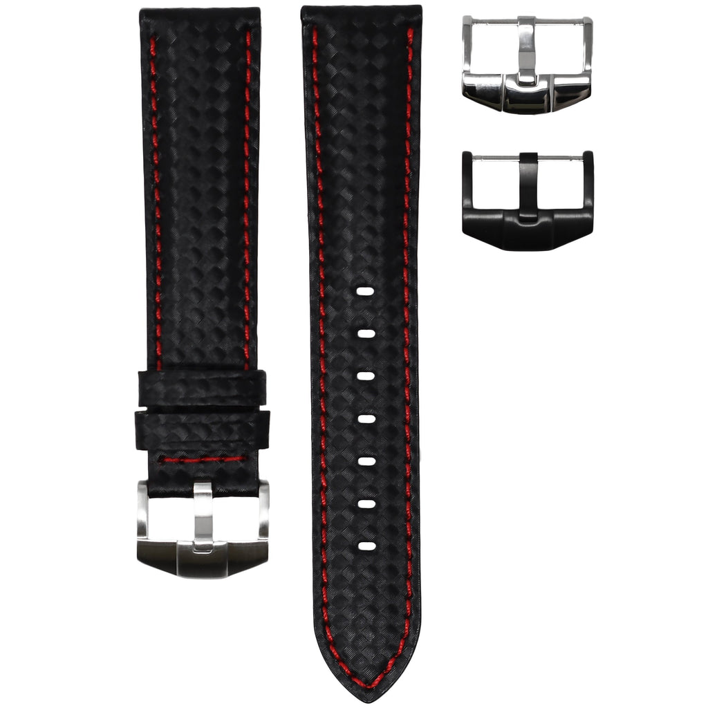 CARBON FIBER / RED STITCHING OMEGA PLANET OCEAN 600M 42MM STRAP