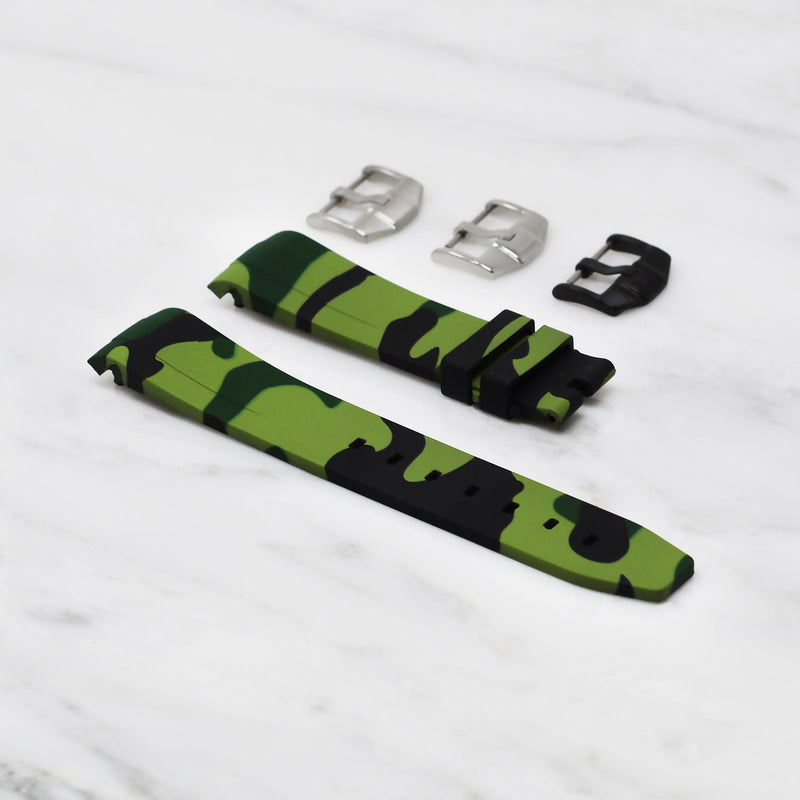 GREEN CAMO OMEGA PLANET SUPER OCEAN 600M 42MM STRAP