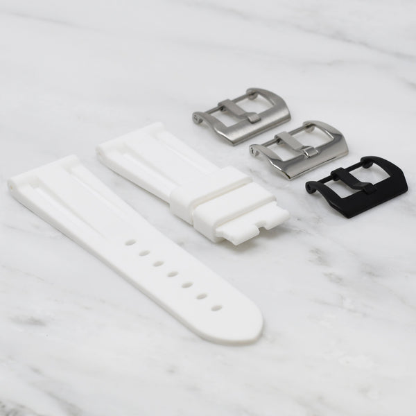 24MM LUG WIDTH STRAP - WHITE RUBBER