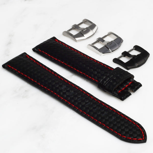ROLEX EXPLORER I STRAP - CARBON FIBER / RED STITCHING