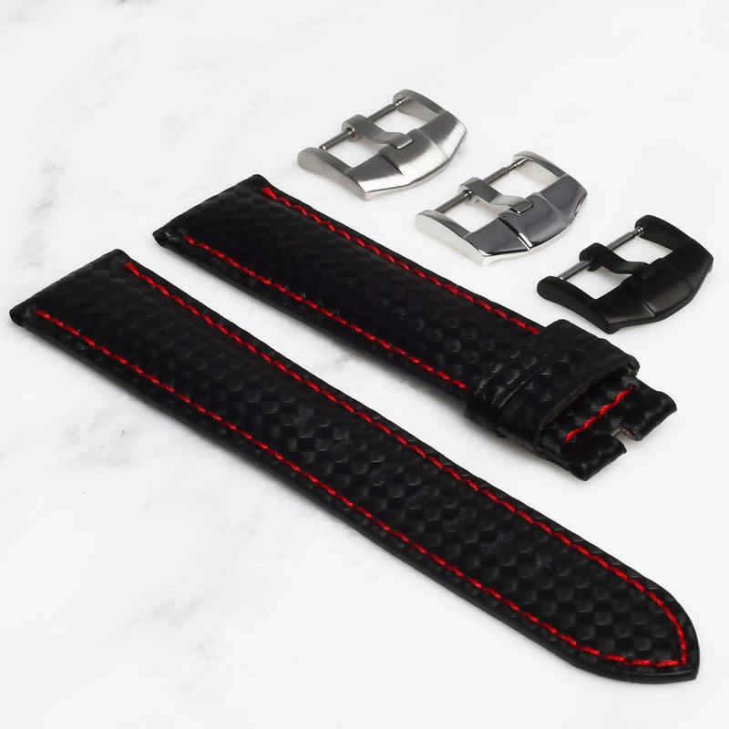 ROLEX EXPLORER II STRAP - CARBON FIBER / RED STITCHING