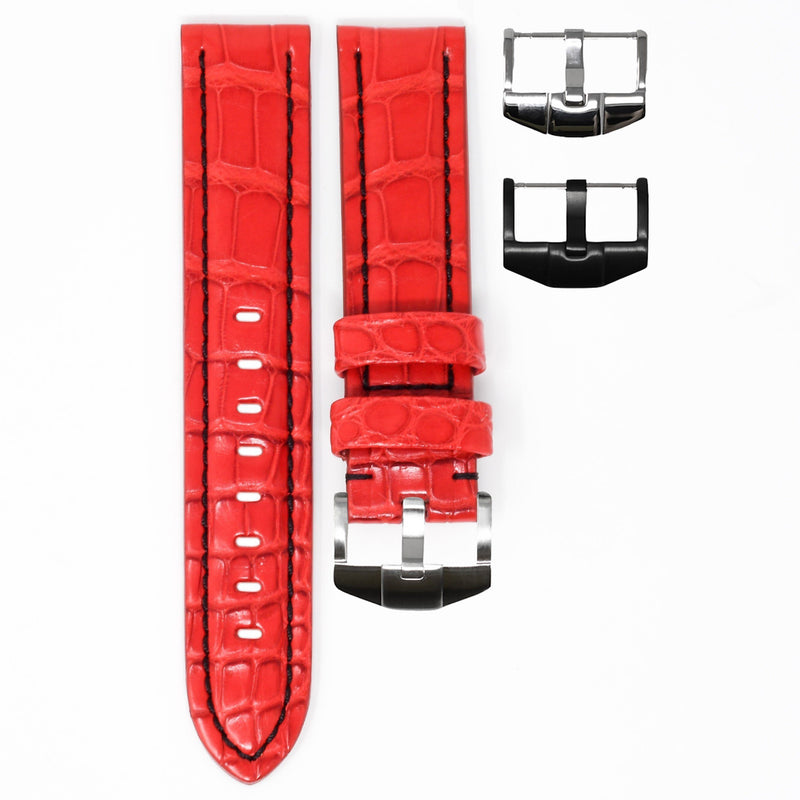 ROSSO ALLIGATOR / BLACK STITCHING TAG HEUER AQUARACER STRAP