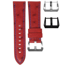 PANERAI LUMINOR STRAP - ROSSO OSTRICH / BLUE STITCHING