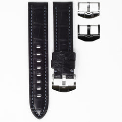 OMEGA SPEEDMASTER STRAP - BLACK ALLIGATOR / GREY STITCHING