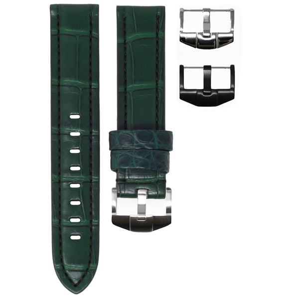 TAG HEUER AQUARACER STRAP - FOREST GREEN ALLIGATOR / BLACK STITCHING