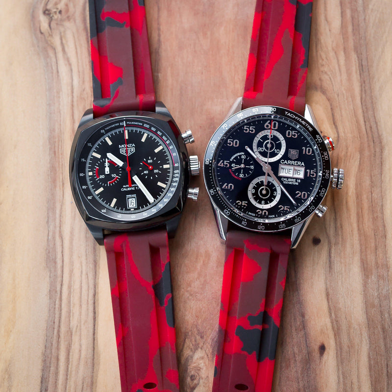 TAG HEUER MONZA CALIBRE 17 STRAP - RED CAMO RUBBER