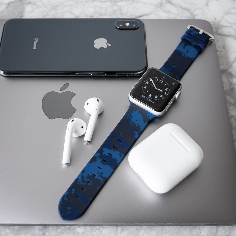 APPLE WATCH STRAP - BLUE DIGI CAMO RUBBER