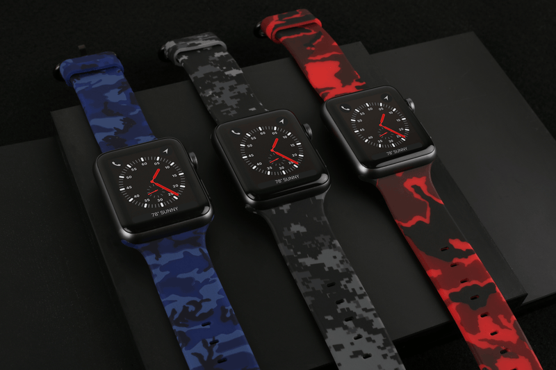 APPLE WATCH STRAP - GRAPHITE DIGI CAMO RUBBER