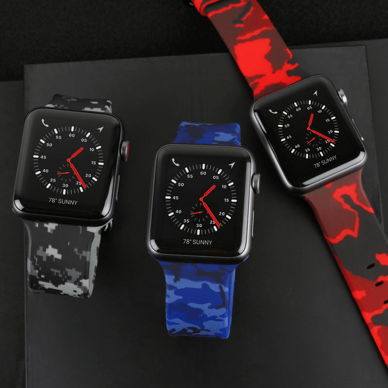 APPLE WATCH STRAP - RED CAMO RUBBER