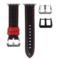 APPLE WATCH STRAP - BLACK / RED PYTHON