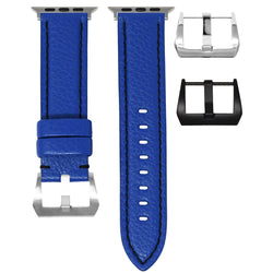 APPLE WATCH STRAP - BLUE LEATHER / BLACK STITCHING