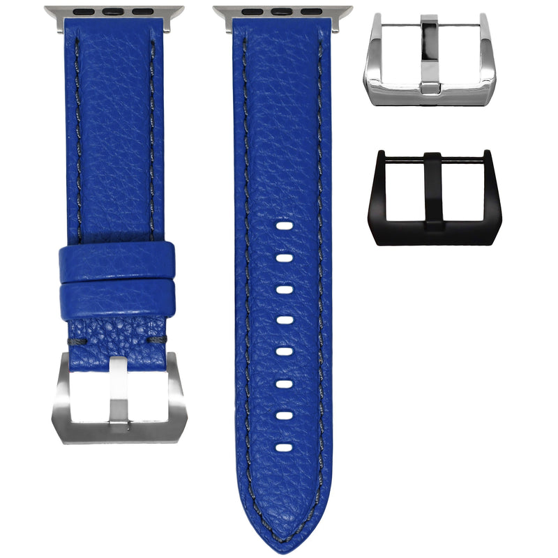 APPLE WATCH STRAP - BLUE LEATHER / GREY STITCHING