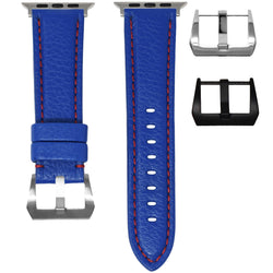 APPLE WATCH STRAP - BLUE LEATHER / RED STITCHING