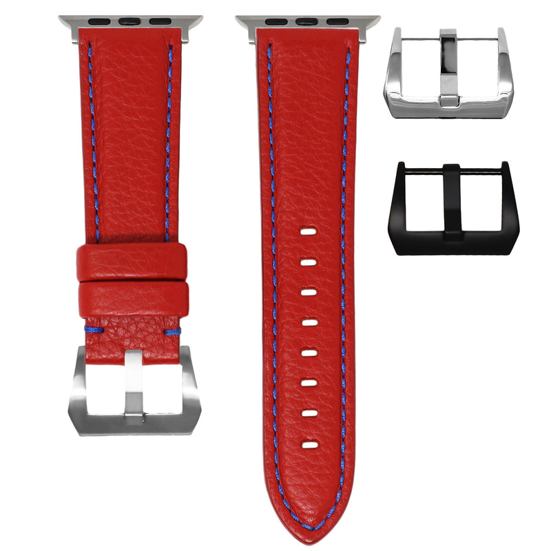 APPLE WATCH STRAP - RED LEATHER / BLUE STITCHING