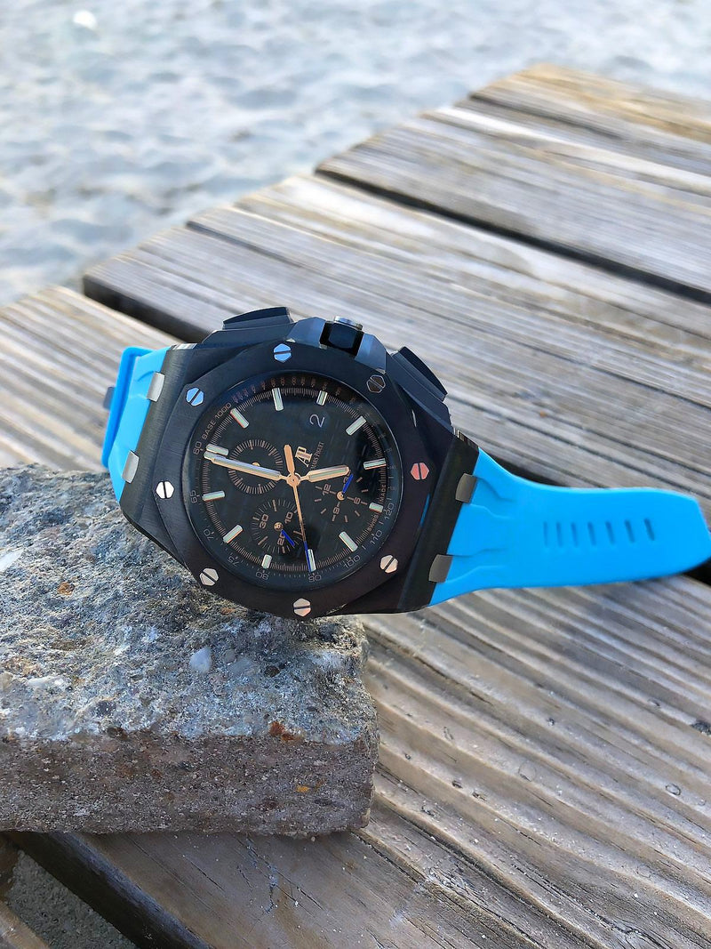 AP ROYAL OAK OFFSHORE 44MM STRAP - MIAMI BLUE RUBBER