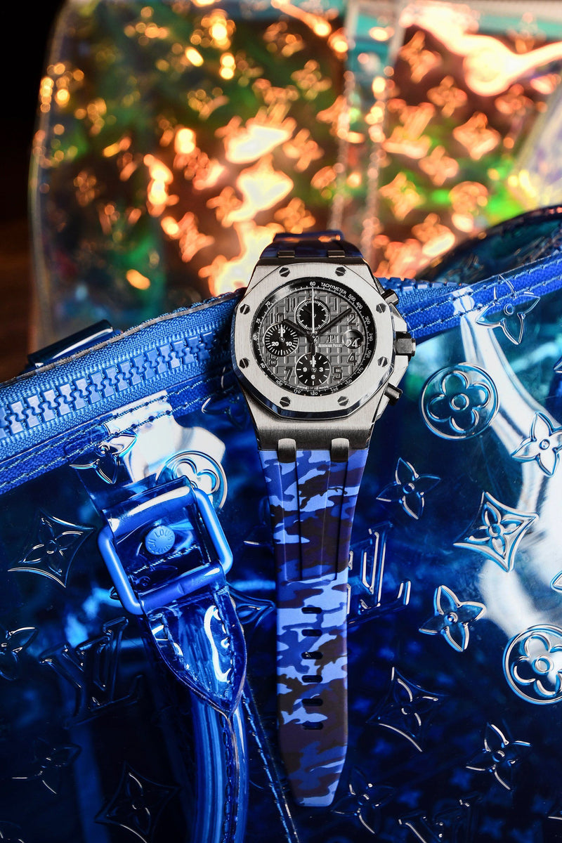 AP ROYAL OAK OFFSHORE 42MM TANG BUCKLE STRAP - BLUE CAMO RUBBER