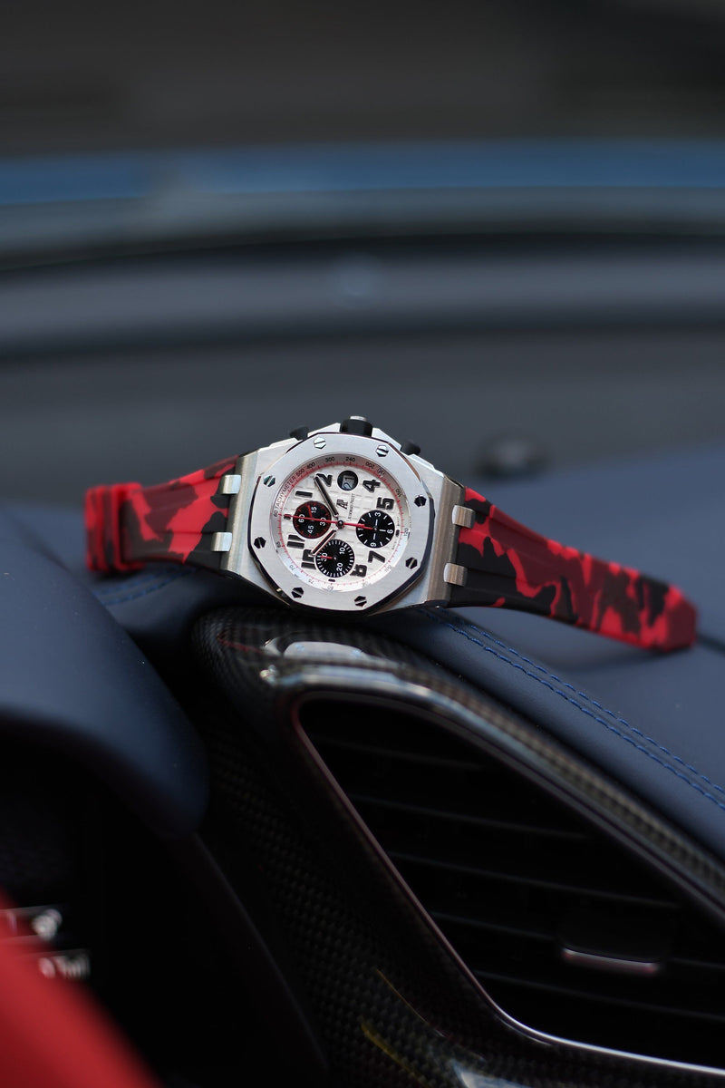 AP ROYAL OAK OFFSHORE 42MM DEPLOYANT CLASP STRAP - RED CAMO RUBBER
