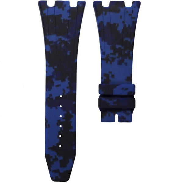 AP ROYAL OAK OFFSHORE 42MM DEPLOYANT CLASP STRAP - BLUE DIGI CAMO RUBBER