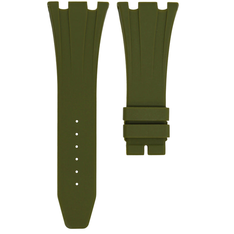OLIVE RUBBER STRAP FOR AUDEMARS PIGUET ROYAL OAK OFFSHORE 42MM DEPLOYANT CLASP