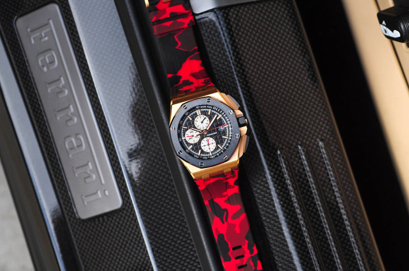 AUDEMARS PIGUET ROYAL OAK OFFSHORE 44MM STRAP - RED CAMO RUBBER