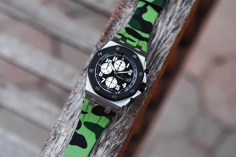 AP ROYAL OAK OFFSHORE 42MM DEPLOYANT CLASP STRAP - GREEN CAMO RUBBER