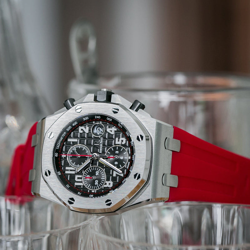 AP ROYAL OAK OFFSHORE 42MM TANG BUCKLE STRAP - RED RUBBER