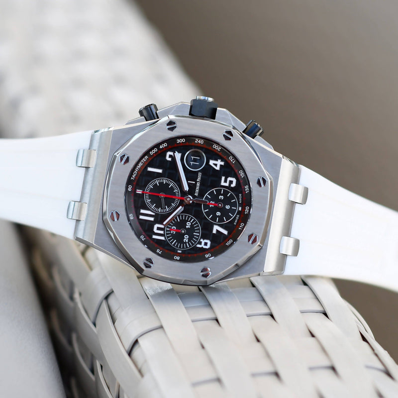 ARCTIC WHITE RUBBER STRAP FOR AUDEMARS PIGUET ROYAL OAK OFFSHORE 42MM TANG BUCKLE