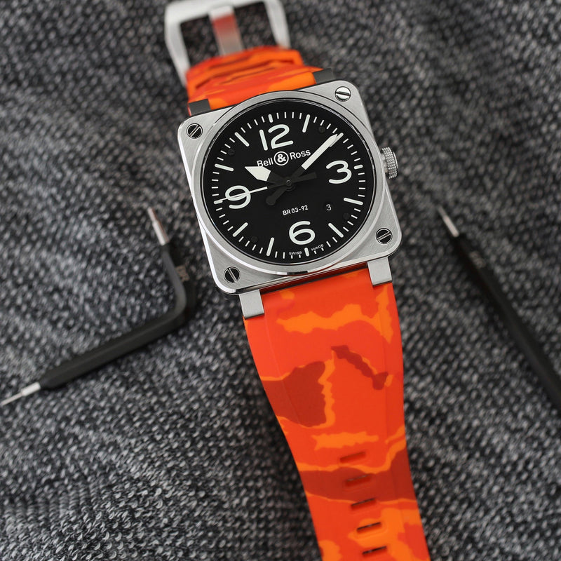 BELL & ROSS BR-01 / BR-03 STRAP - ORANGE CAMO RUBBER