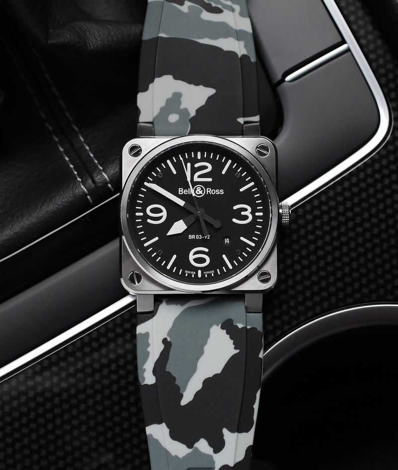 BELL & ROSS BR-01 / BR-03 STRAP - SNOW CAMO RUBBER