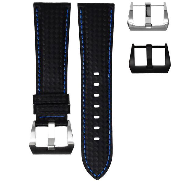 BREITLING TRANSOCEAN STRAP - CARBON FIBER / BLUE STITCHING