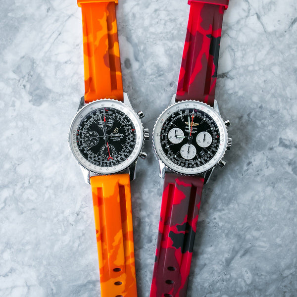 BREITLING NAVITIMER STRAP - RED CAMO RUBBER