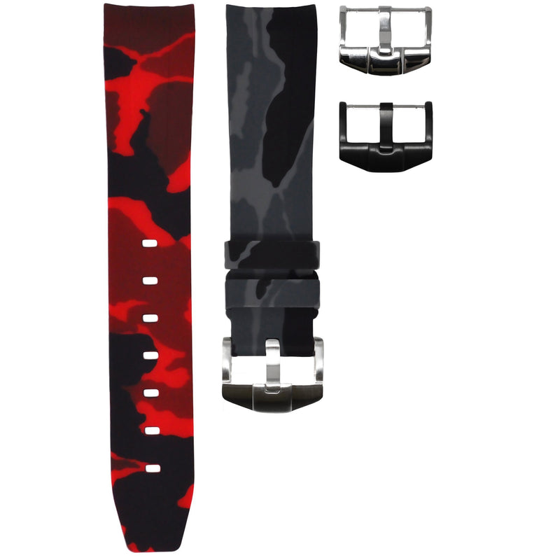 """COKE"" ROLEX GMT MASTER II RUBBER STRAP - GRAPHITE/RED CAMO"