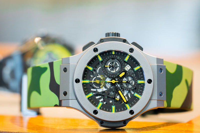 HUBLOT BIG BANG 44MM STRAP - GREEN CAMO RUBBER