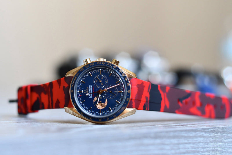 OMEGA SPEEDMASTER STRAP - RED CAMO RUBBER