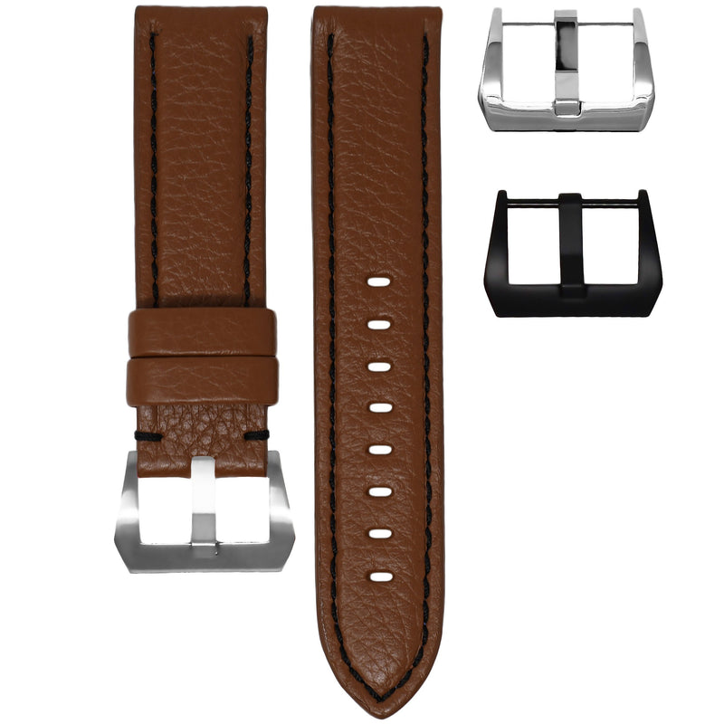 PANERAI LUMINOR STRAP - COGNAC LEATHER / BLACK STITCHING