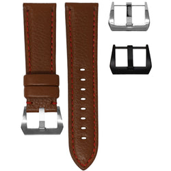 PANERAI LUMINOR STRAP - COGNAC LEATHER / RED STITCHING