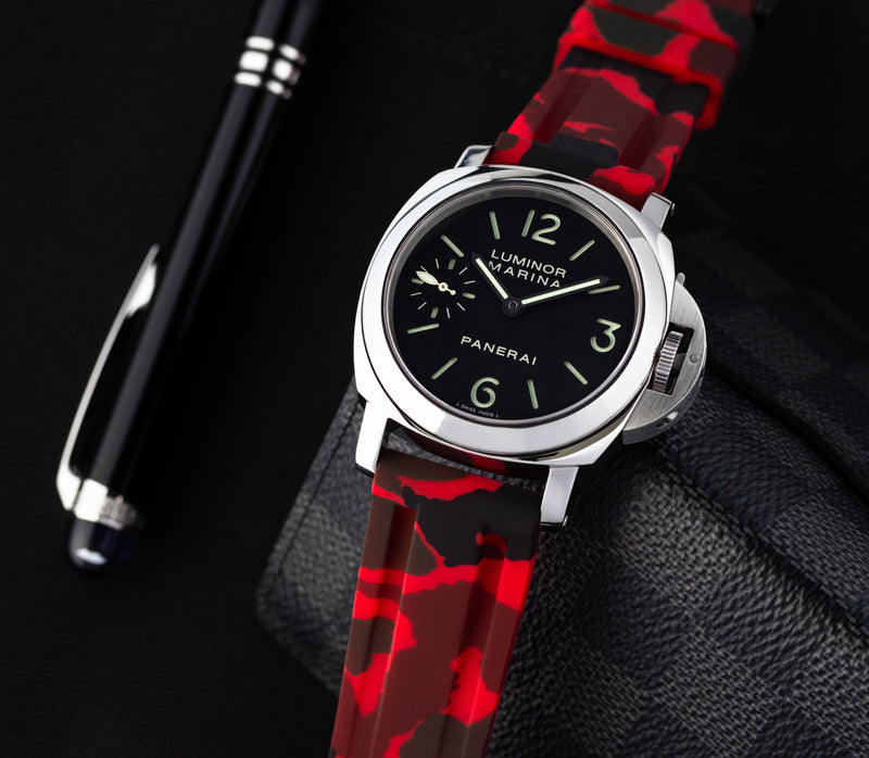 PANERAI LUMINOR STRAP - RED CAMO RUBBER