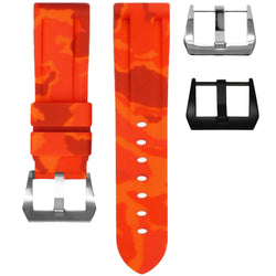 TUDOR FASTRIDER BLACK SHIELD STRAP - ORANGE CAMO RUBBER