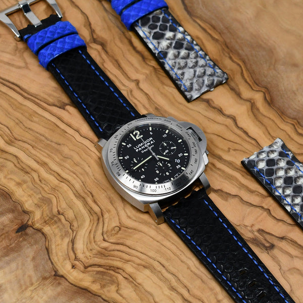 PANERAI LUMINOR STRAP - BLACK / BLUE PYTHON