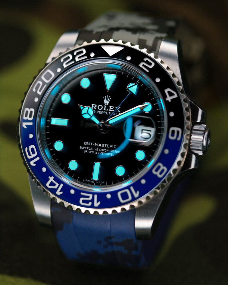 """BLACK & BLUE"" DIGI CAMO RUBBER STRAP FOR ROLEX GMT MASTER II"