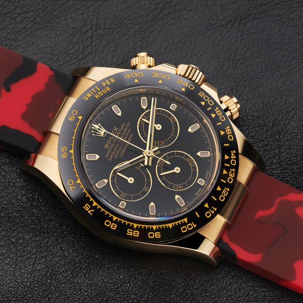 RED CAMO RUBBER STRAP FOR ROLEX DAYTONA ON OYSTERFLEX