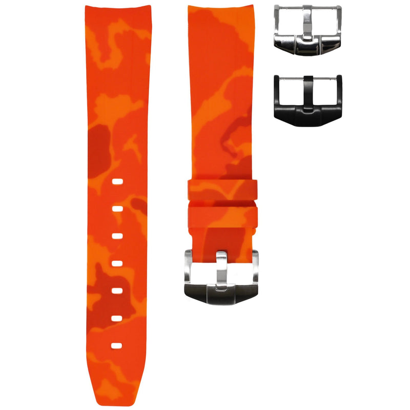 ORANGE CAMO RUBBER STRAP FOR ROLEX OYSTER PERPETUAL