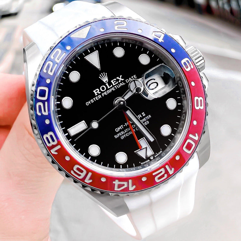 ARCTIC WHITE RUBBER STRAP FOR ROLEX GMT MASTER II
