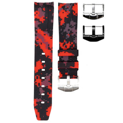 ROLEX DAY-DATE II (41MM) STRAP - RED DIGI CAMO RUBBER
