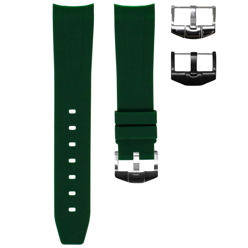 FOREST GREEN RUBBER STRAP FOR ROLEX DAY-DATE 40MM
