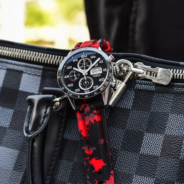 TAG HEUER CARRERA STRAP - RED DIGI CAMO RUBBER