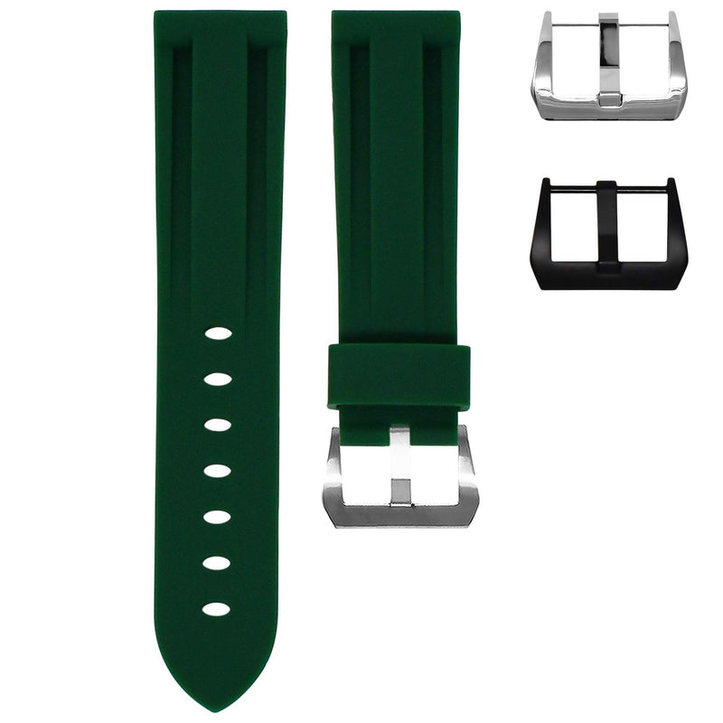 TAG HEUER AUTAVIA STRAP - FOREST GREEN RUBBER