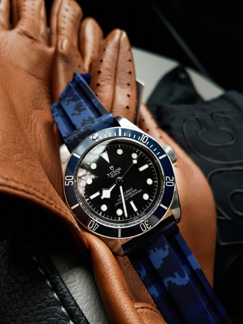 TUDOR BLACK BAY STRAP - BLUE DIGI CAMO RUBBER